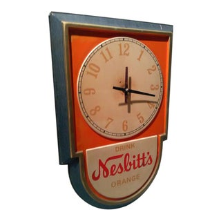 Vintage Nesbitts Orange Advertising Clock Sign, 1950s-1960s