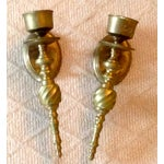 Image of Scrolled Brass Candle Sconces