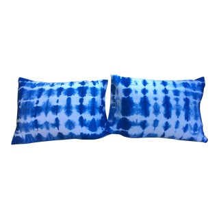 Indigo Shibori Dyed Standard Pillow Shams - A Pair