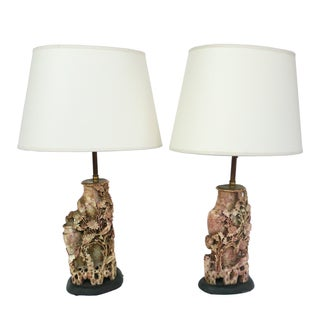 Carved Chinese Soapstone Lamps - A Pair