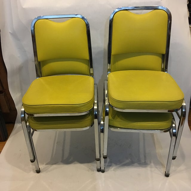 Mid-Century Chrome & Vinyl Chairs- Set of 4 - Image 3 of 8