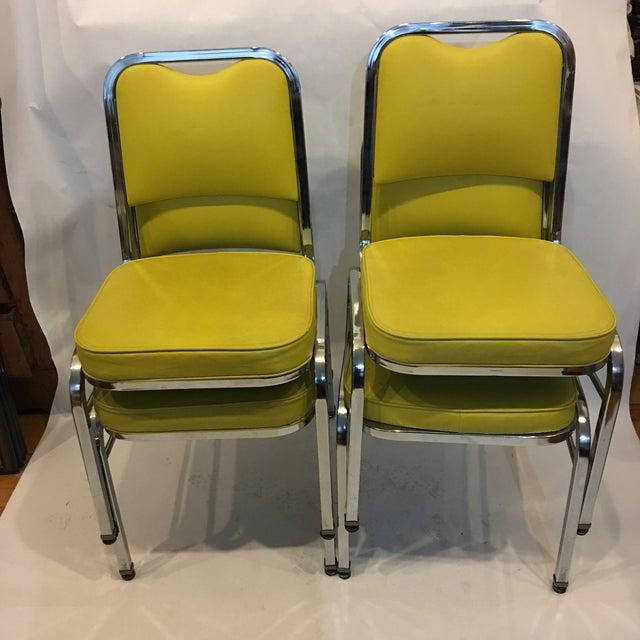 Image of Mid-Century Chrome & Vinyl Chairs- Set of 4