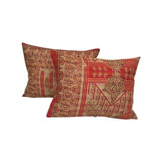 Kantha Quilt Silk Indian Pillows - A Pair