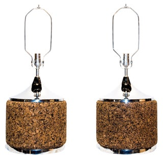 Mid-Century Modern Chrome and Cork Table Lamps by Laurel - a Pair