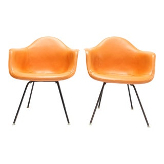 Pair Vintage Eames Fiberglass Armchairs with Removable Upholstery