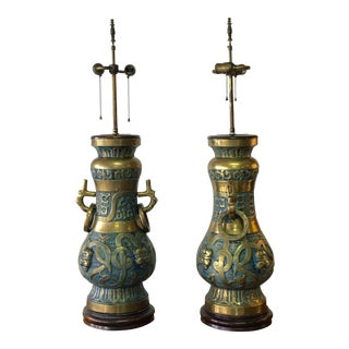 Pepe Mendoza, Monumental Pair of Brass and Enamel Lamps