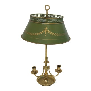 3 Arm Brass Bouillotte Lamp with Green Tole Shade