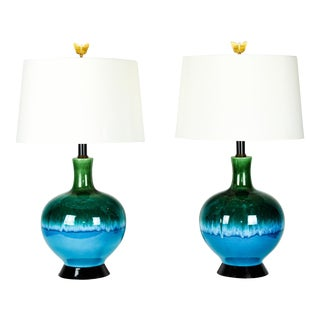 Vintage Turquoise & Green Porcelain Table Lamps - A Pair