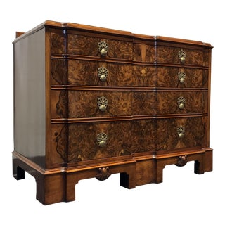 Early 20th Century Burl Walnut Block Front Bachelor Chest of Drawers