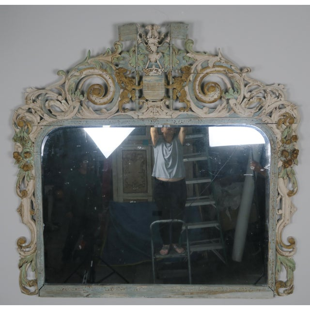 Image of 19th Century English Carved Wood Painted Mirror