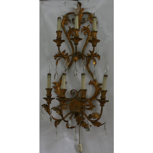 Italian Tole Gilt Wall Sconce With Crystal Prisms Chairish