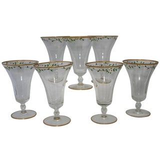 Vintage Hand Painted Footed Water Glasses - S/7