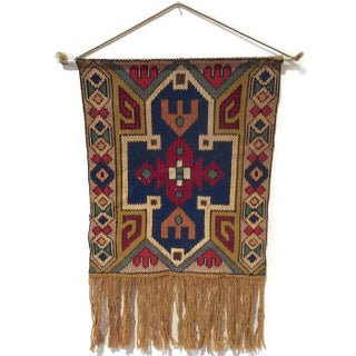 Vintage Hand Knotted Tribal Textile Wall Hanging
