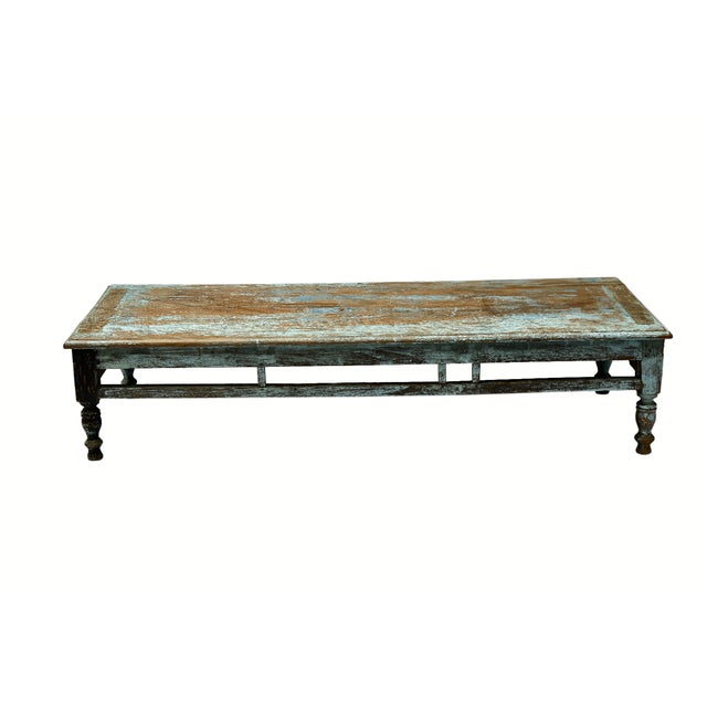 Image of Rustic Low Turquoise Coffee Table