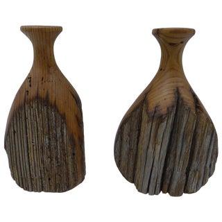 Mid-Century Wood Vases - A Pair