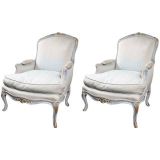 Louis XV Style Beechwood Painted Bergeres - A Pair