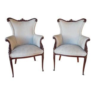 Regency Style Mahogany Frame Bergeres - A Pair