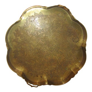 Boho Footed Brass Clover Shaped Tray