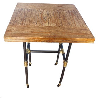 Industrial Style Distressed Wood & Steel Pipe End Table