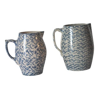 Two 19th Century Rare Form Sponge Ware Pottery Pitchers