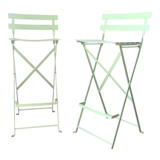 Light Green Metal Folding Chairs - A Pair