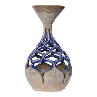 White & Blue Lace Vase
