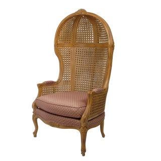 Vintage Hand-Carved Cane High-Back Hooded Chair