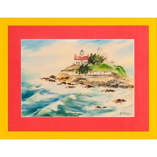 Island Lighthouse, Watercolor Painting
