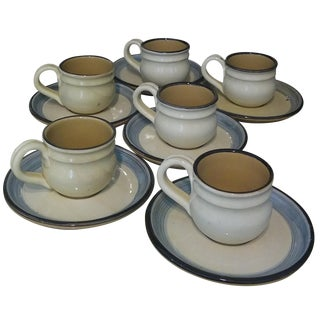 """Momma Ro"" Espresso Cups & Saucers - Set of 6"
