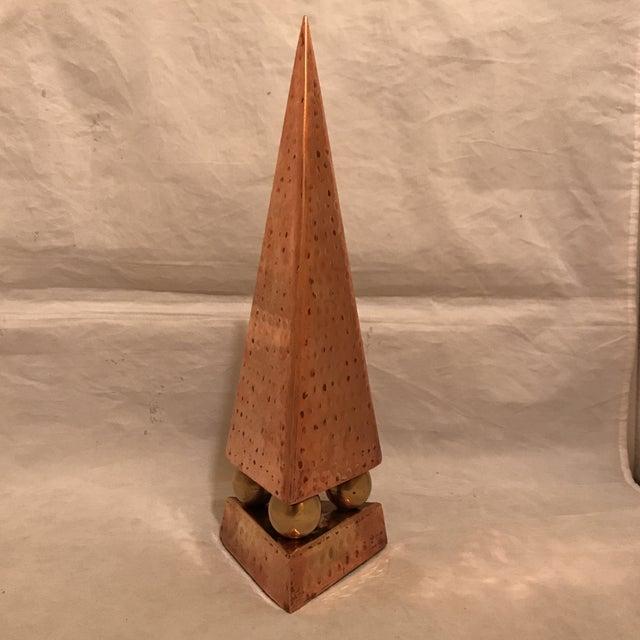 Hammered Copper & Brass Pyramidal Obelisk - Image 3 of 5