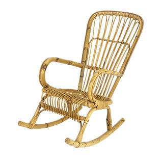1950s Franco Albini Style Rattan Bamboo Rocking Chair