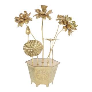 Pair of Large and Impressive Feldman Brass Lotus Flowers in Pots Sculptures
