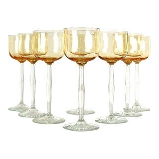 Amber Crystal Wine Glasses - Set of 8