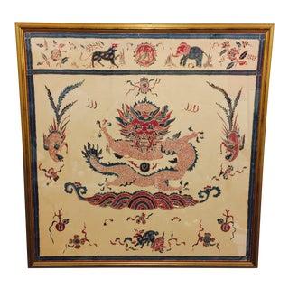 Vintage Batik Textile in Gold Frame