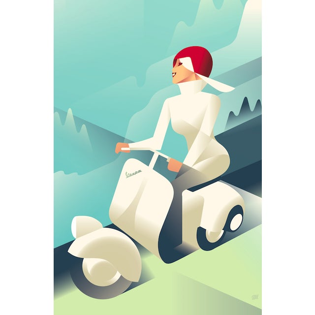 Vintage Style Vespa Poster by Mads Berg - Image 1 of 2