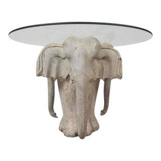 Vintage Modern Primitive Carved Wood Elephant Coffee Table