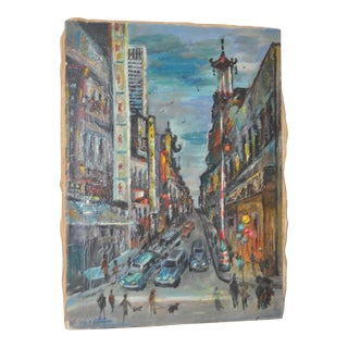 1950s Vintage San Francisco Chinatown Painting by Celia B. Michelena