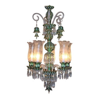 Bohemian Etched Glass Crystal Chandelier