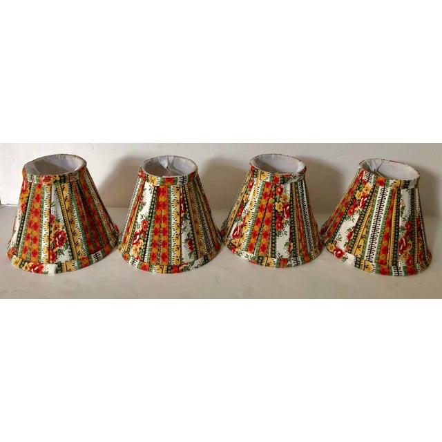 Custom Striped Floral Chandelier Shades - Set of 4 - Image 3 of 5