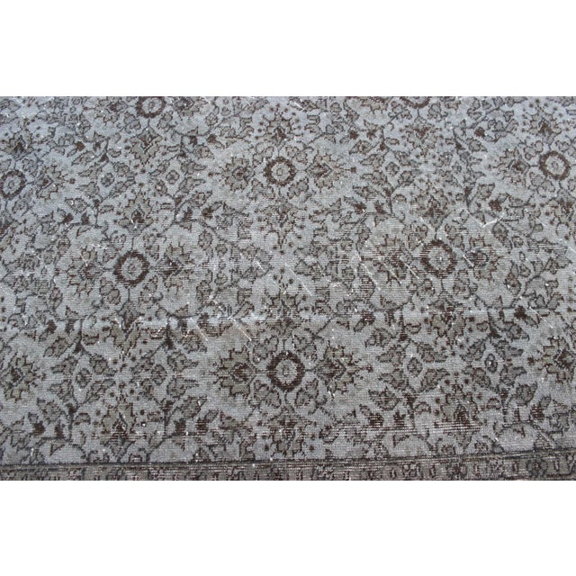 """Vintage Turkish Over-Dyed Gray Rug - 10' x 7'3"""" - Image 6 of 8"""