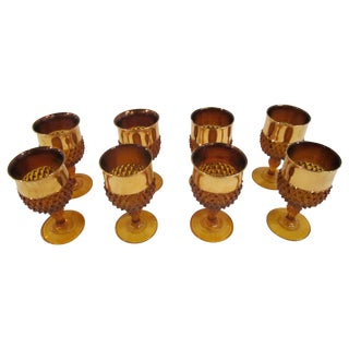 Amber Glass Goblets - Set of 8