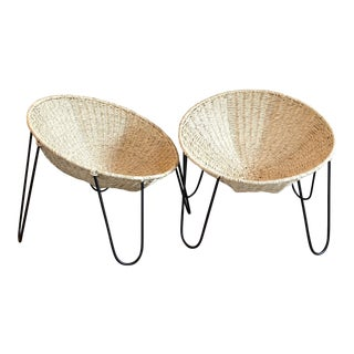 Mexa Woven Palm Leaf and Metal Circle Lounge Chairs - a Pair