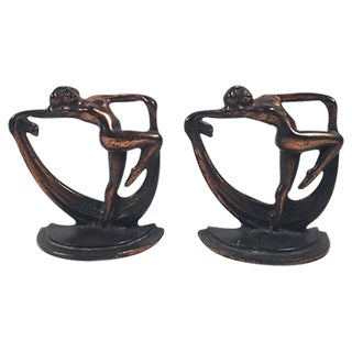 Crescent Art Deco Figural Bronze Bookends- A Pair