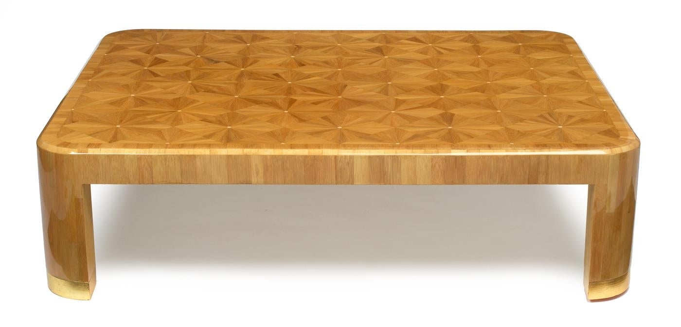 Ron Seff Starburst Bamboo Marquetry Cocktail Table Ca. 1980   Image 10 Of 10