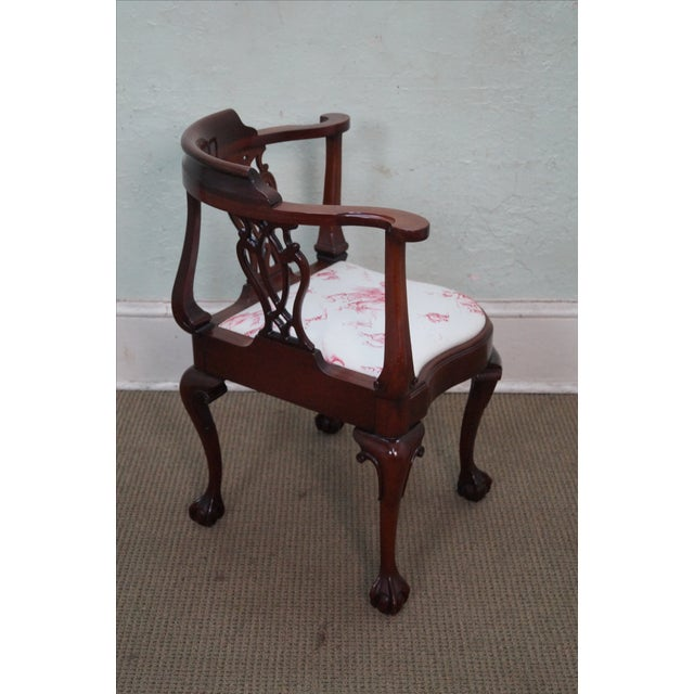 Southwood Chippendale Style Claw Foot Corner Chair - Image 3 of 10