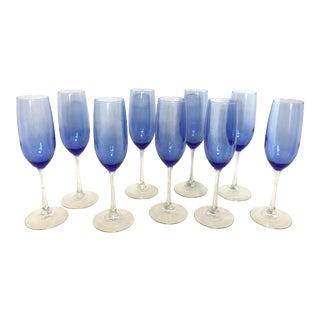 Vintage Cobalt Blue Champagne Flutes - Set of 9