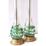 Image of A Pair of Murano Clear Bottle Form Lamps w/Raised Green Swirls