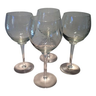 Vintage Hand Etched Crystal Tall Ship Wine Glasses- Set of 4