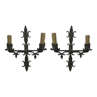 Iron Two Light Sconces - a Pair