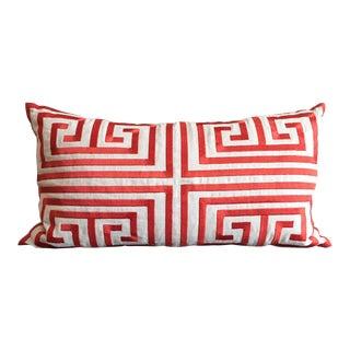 Trina Turk Orange & White Embroidered Linen Pillow